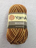 Пряжа Begonia 50гр - 169м (0012) YarnArt цвет меланж бежево-коричневый 100% хлопок Турция для летних вещей