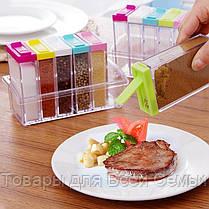 Кухонная подставка для хранения приправ и специй с 6-ю емкостями Seasoning Six Piece Set!Хит цена, фото 2