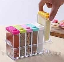 Кухонная подставка для хранения приправ и специй с 6-ю емкостями Seasoning Six Piece Set!Хит цена, фото 3