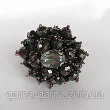 Гумка для волосся з кришталевими намистинами бісером, перлами та стразами Чорний