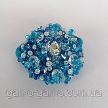Гумка для волосся з кришталевими намистинами бісером, перлами та стразами Блакитний