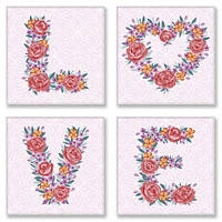 """Картина по номерам Идейка Полиптих """"LOVE, flowers"""" (4шт) 18х18см ★★★ CH125"""