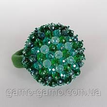 Гумка для волосся з кришталевими намистинами бісером, перлами та стразами зелений