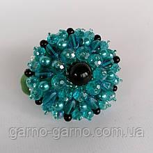 Гумка для волосся з кришталевими намистинами бісером, стразами і кристалами намистинами перлами блакитний з чорним