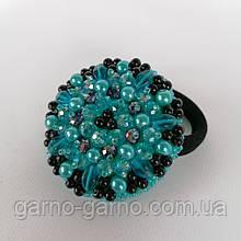 Гумка для волосся з кришталевими намистинами бісером, стразами і кристалами намистинами перлами бірюзовий з чорним
