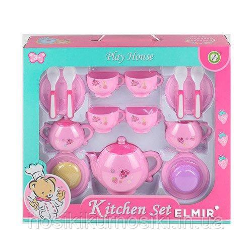 Набір іграшкової посуду 15 предметів Чайний сервіз на 4 персони, рожевий