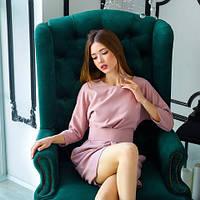 Красивое пудровое приталенное платье-мини с широким поясом размеры 42-52