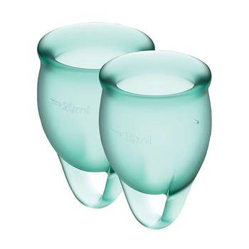 Набір менструальних чаш Satisfyer Feel Confident (dark green), 15мл і 20мл, мішечок для зберігання
