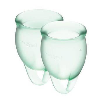Набір менструальних чаш Satisfyer Feel Confident (light green), 15мл і 20мл, мішечок для зберігання