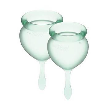 Набір менструальних чаш Satisfyer Feel Good (light green), 15мл і 20мл, мішечок для зберігання