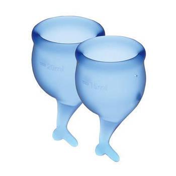 Набір менструальних чаш Satisfyer Feel Secure (dark blue), 15мл і 20мл, мішечок для зберігання