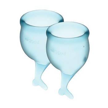 Набір менструальних чаш Satisfyer Feel Secure (light blue), 15мл і 20мл, мішечок для зберігання