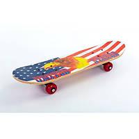 Скейтборд Mini в сборе (роликовая доска) (красный-белый-синий)