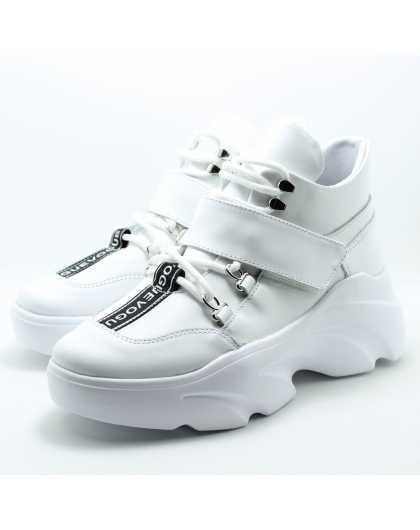 Белые кроссовки на платформе Olteya 16319