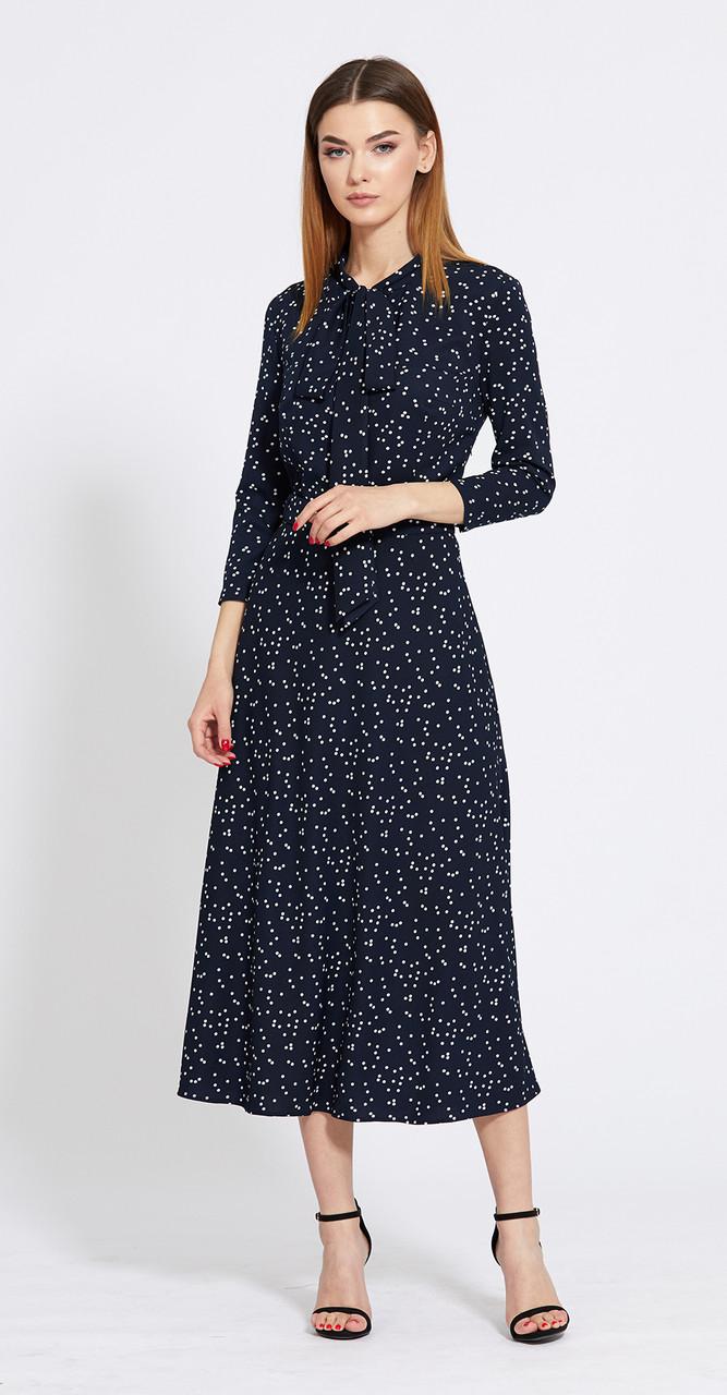 Платье EOLA-1829/1 белорусский трикотаж, тёмно-синий в белый горох, 44