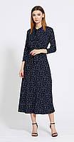 Платье EOLA-1829/1 белорусский трикотаж, тёмно-синий в белый горох, 44, фото 1