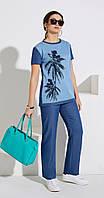 Костюм Lissana-3999 белорусский трикотаж, светло-голубой с джинсовым, 48