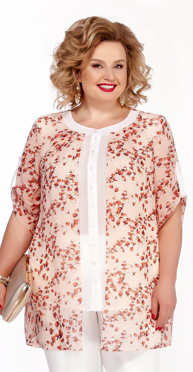 Блузка Pretty-740 белорусский трикотаж, персик, 56