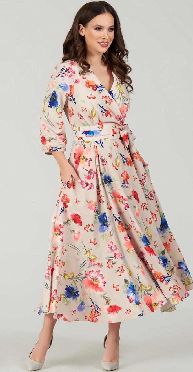 Платье TEFFI style-1483/3 белорусский трикотаж, бежевый, 48