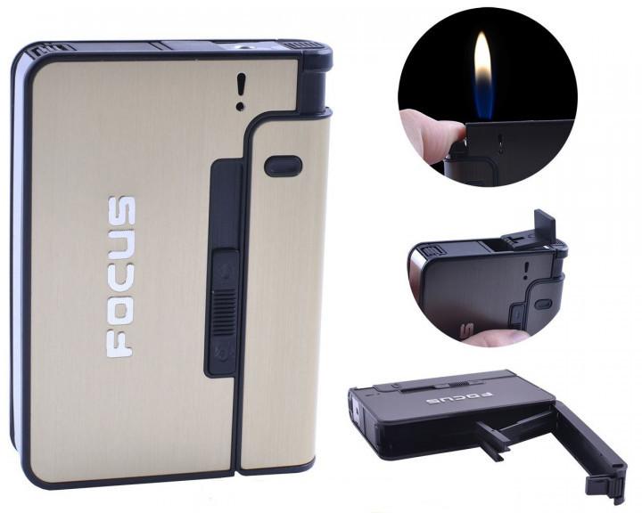 Портсигар Focus с зажигалкой и авто подачей сигарет золотистый 4938 а