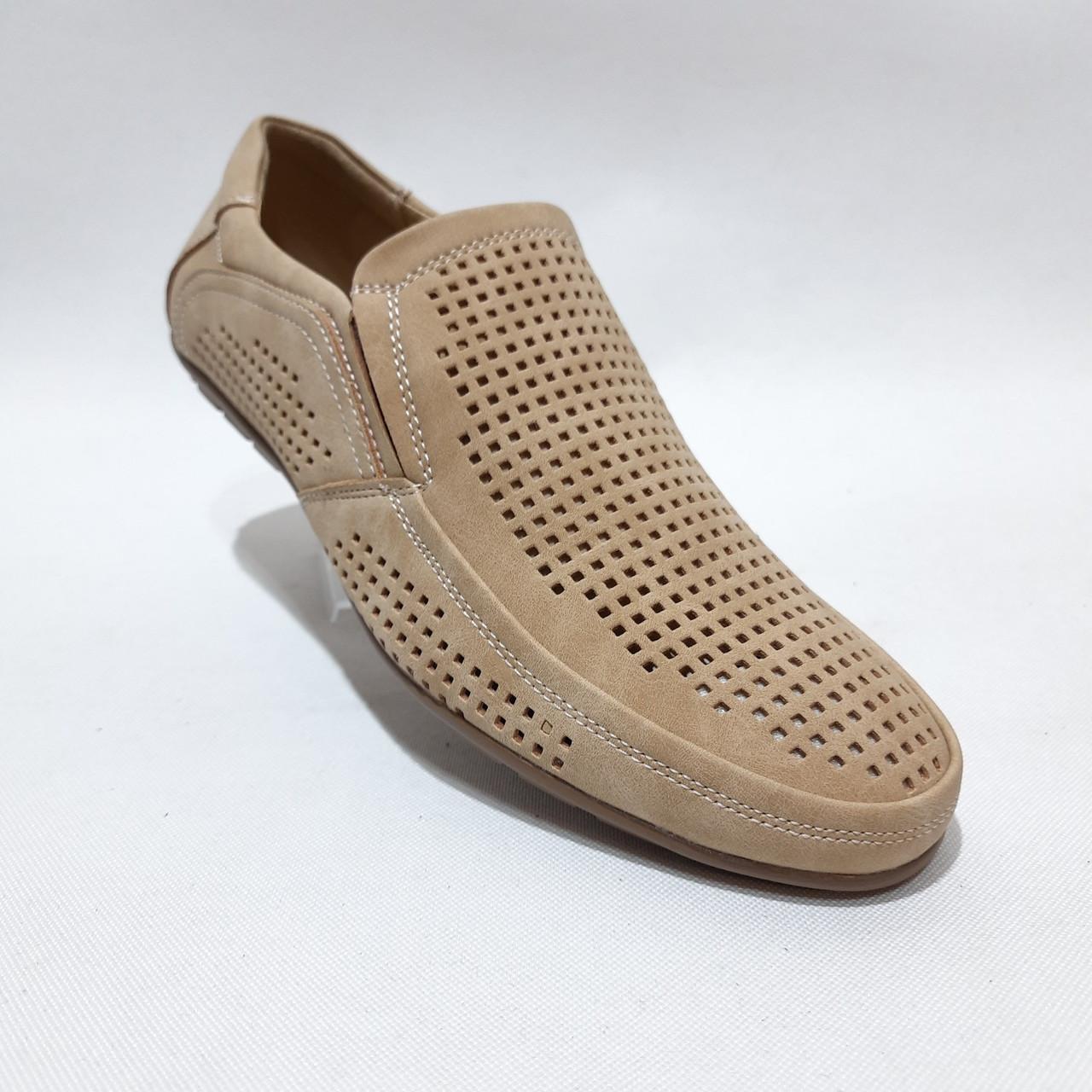 44 р. Чоловічі мокасини туфлі літні бежеві з екошкіри остання пара