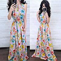Платье летнее в пол цветочный принт AM1638