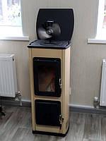 Отопительно варочная печь камин на дровах  MILANO II - бежевая (  изразцовая печка, каминофен )., фото 1