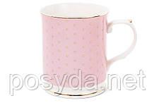 Кружка фарфоровая 400мл, цвет - розовый в золотой горох