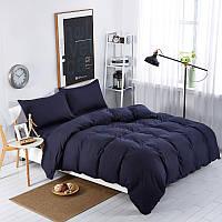 Однотонный комплект постельного белья  Темно Синий, поплин Lux, разные размеры