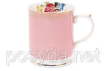 Кружка фарфоровая 400мл, цвет - розовый с золотом