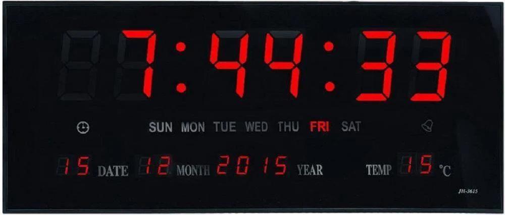 Кімнатні електронні світлодіодні настінні годинники LED NUMBER CLOCK 3615 RED