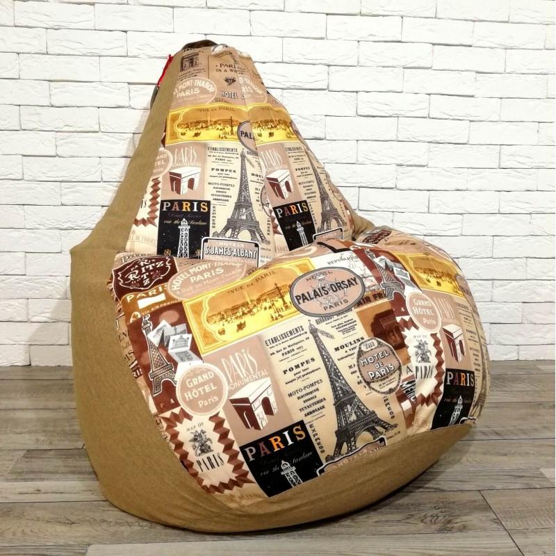 """Кресло-груша рогожка """"Париж в золоте"""" KatyPuf, Размер XXL 140x100"""