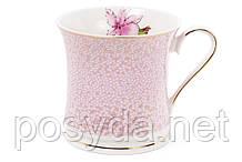 Кружка фарфоровая 375мл Ирис, цвет - розовый с золотом