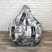 """Кресло-груша велюр с принтом """"Париж"""" KatyPuf, Размер XXL 140x100, фото 1"""