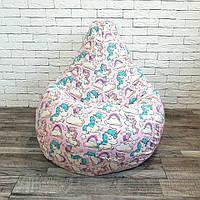 """Кресло-груша хлопок розовый """"Единорожки"""" KatyPuf, Размер XXL 140x100, фото 1"""