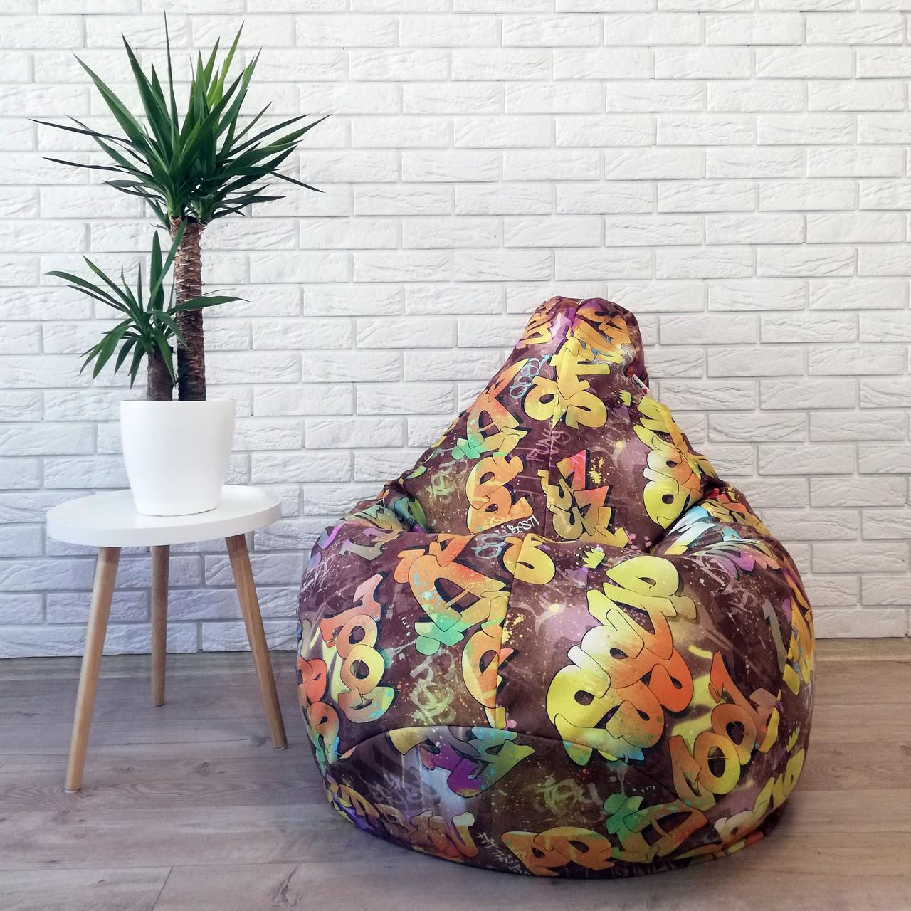"""Кресло-груша коттон """"Граффити"""" KatyPuf, Размер L 100x75"""
