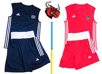 Боксерская форма Адидас (Adidas) Комплект из 2 форм! С гербом Украины (UKR) красная и синяя
