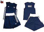 Боксерская форма Адидас (Adidas) Комплект из 2 форм! С гербом Украины (UKR) красная и синяя, фото 2