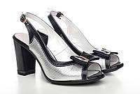 Летние открытые кожаные туфли,босоножки женские серого цвета