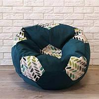Кресло-мяч велюр темно-бирюзовый KatyPuf, Размер 100см