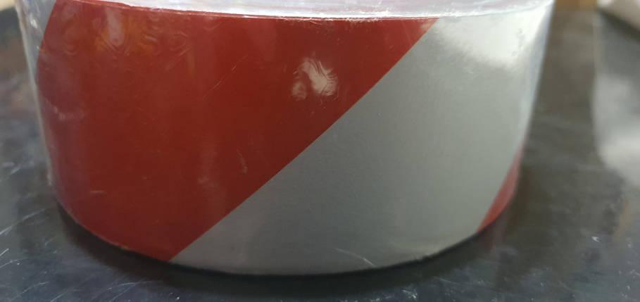 Светоотражающая самоклеющаяся КРАСНО-БЕЛАЯ лента рулон 45 м, ширина 5 см, фото 2