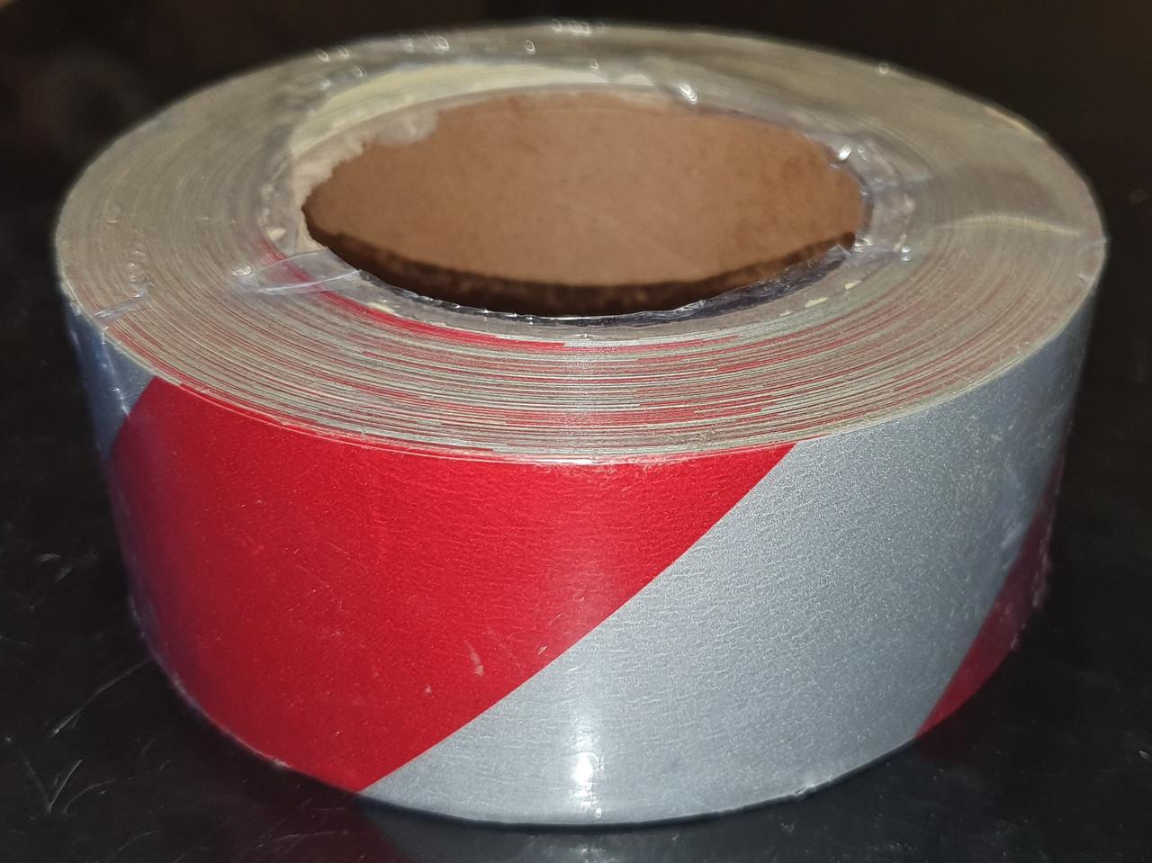 Светоотражающая самоклеющаяся КРАСНО-БЕЛАЯ лента рулон 45 м, ширина 5 см