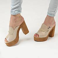 Женские кожаные шлепанцы на высоком каблуке