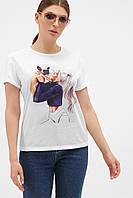Женская белая 3D футболка с принтом