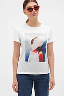 Женская белая 3D футболка с цветами на груди
