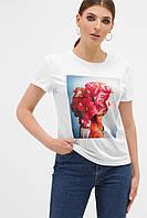 Женская 3D футболка с цветами на груди розовыми