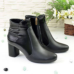 Ботинки женские классические на невысоком каблуке, натуральная кожа и лак