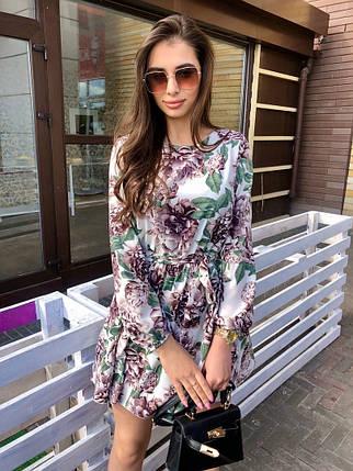 Платье мини легкое свободное универсальное с длинным рукавом корич розы, фото 2