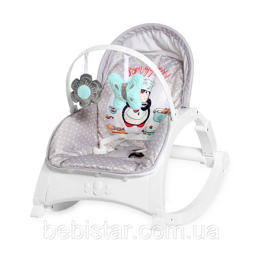 Кресло-качалка серая для малышей до 1 года и стульчик до 3-х лет Lorelli Enjoy Grey Penguin