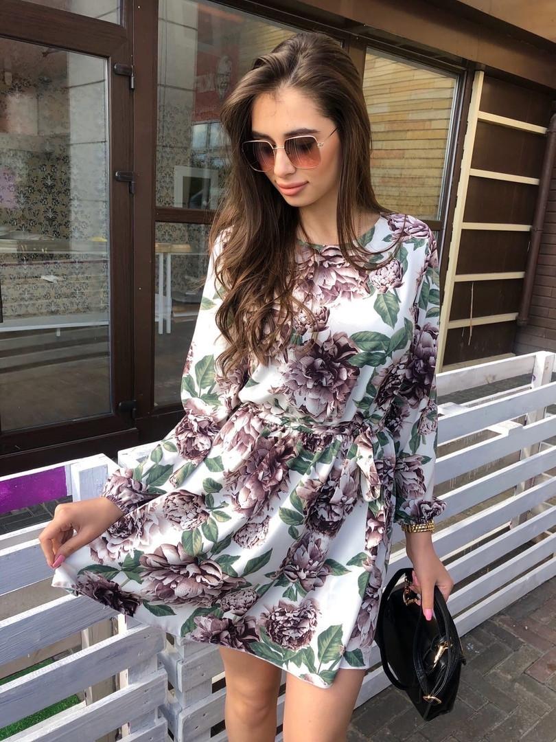 Платье мини легкое свободное универсальное с длинным рукавом корич розы